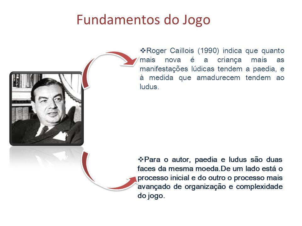 Fundamentos do Jogo Roger Caillois (1990) indica que quanto mais nova é a criança mais as manifestações lúdicas tendem a paedia, e à medida que amadur
