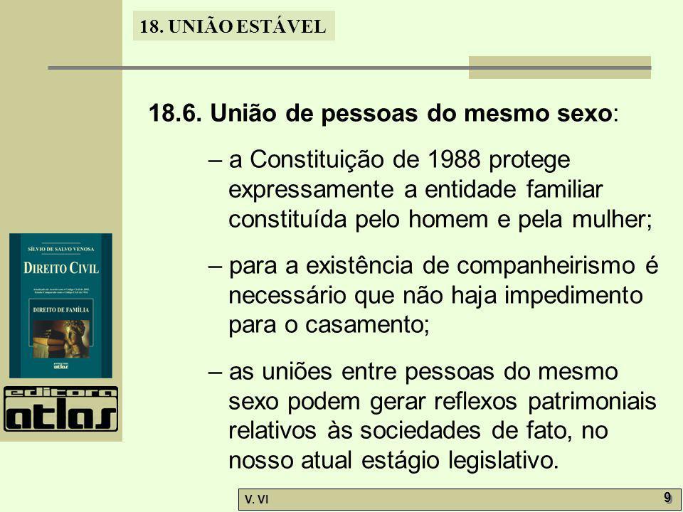 18. UNIÃO ESTÁVEL V. VI 9 9 18.6. União de pessoas do mesmo sexo: – a Constituição de 1988 protege expressamente a entidade familiar constituída pelo