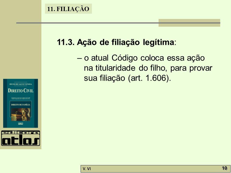 11. FILIAÇÃO V. VI 10 11.3. Ação de filiação legítima: – o atual Código coloca essa ação na titularidade do filho, para provar sua filiação (art. 1.60