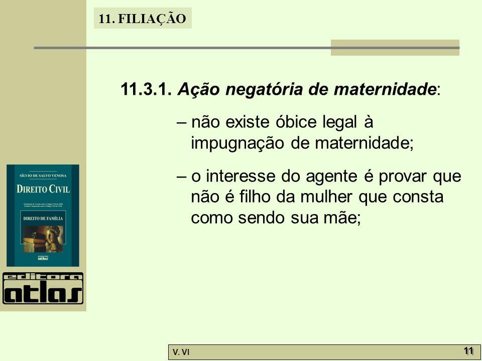 11. FILIAÇÃO V. VI 11 11.3.1. Ação negatória de maternidade: – não existe óbice legal à impugnação de maternidade; – o interesse do agente é provar qu