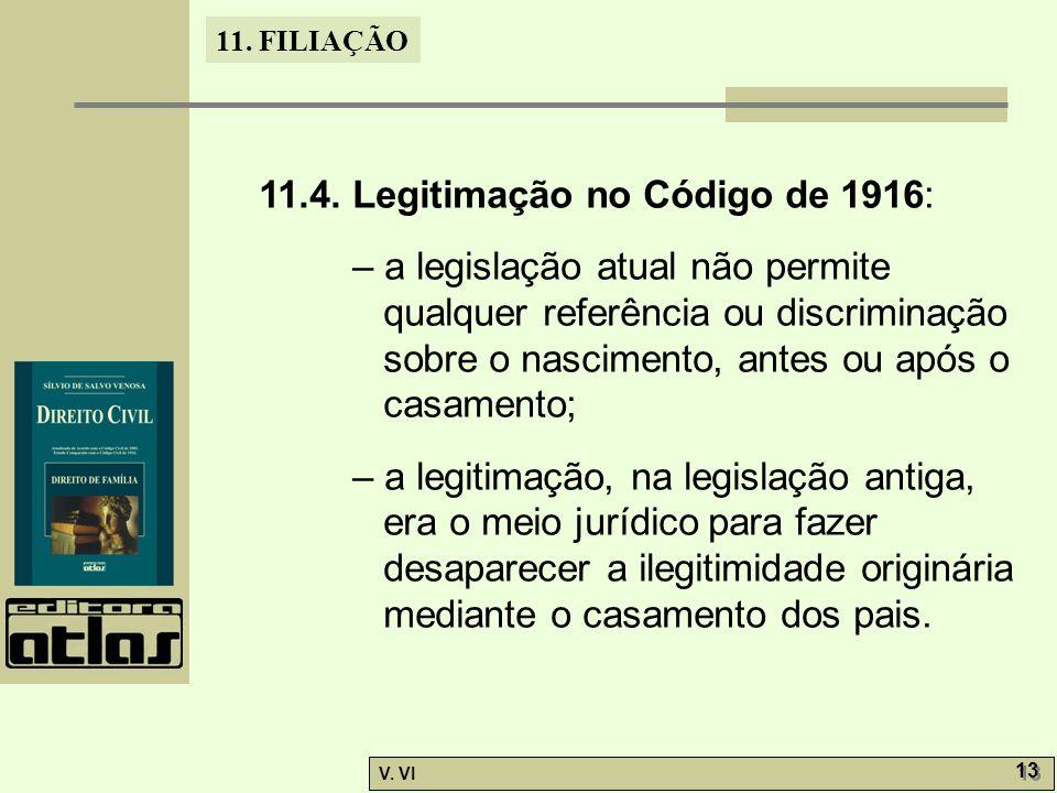 11. FILIAÇÃO V. VI 13 11.4. Legitimação no Código de 1916: – a legislação atual não permite qualquer referência ou discriminação sobre o nascimento, a
