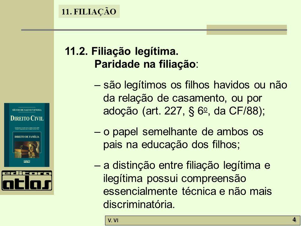 11. FILIAÇÃO V. VI 4 4 11.2. Filiação legítima. Paridade na filiação: – são legítimos os filhos havidos ou não da relação de casamento, ou por adoção