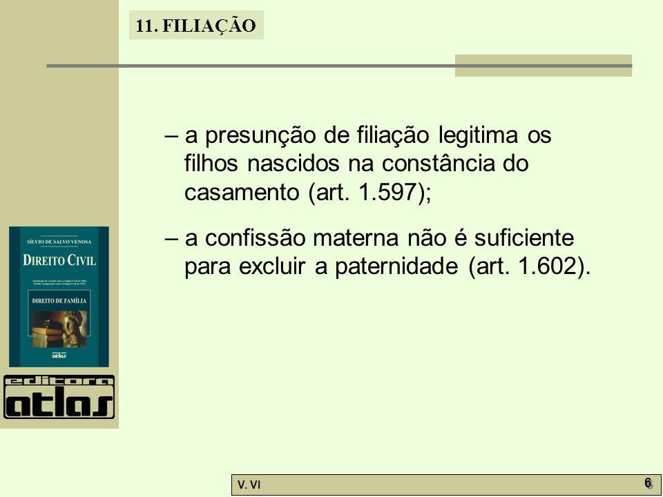 11. FILIAÇÃO V. VI 6 6 – a presunção de filiação legitima os filhos nascidos na constância do casamento (art. 1.597); – a confissão materna não é sufi