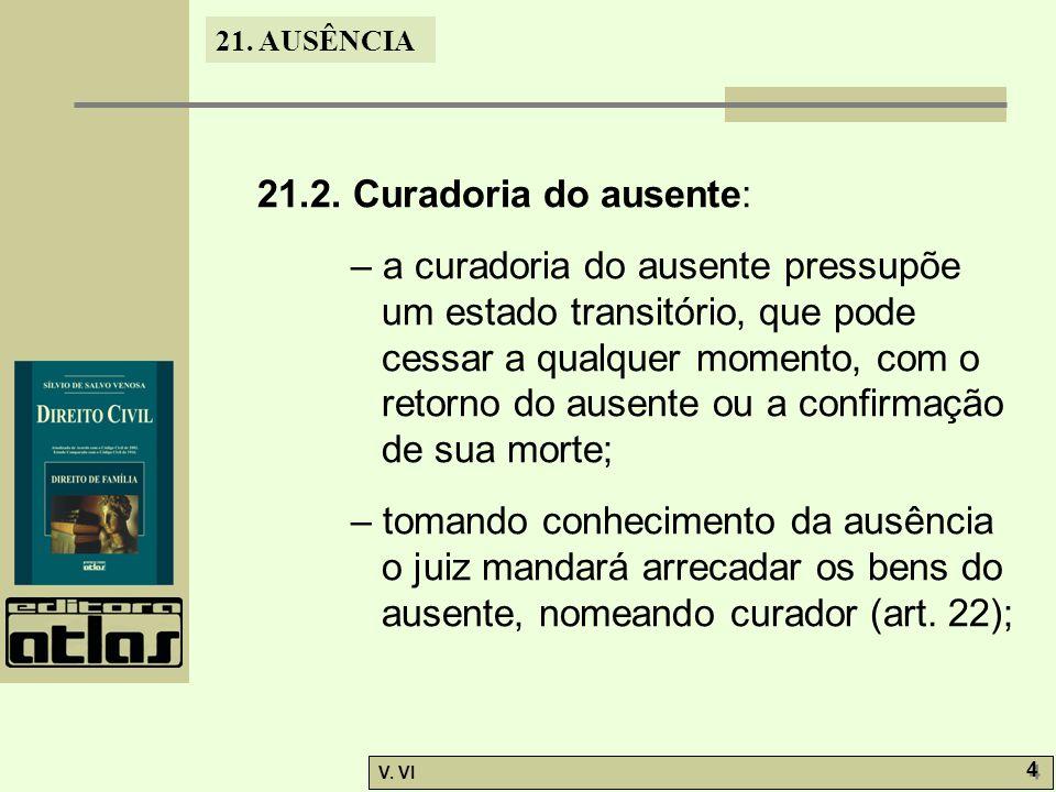 21. AUSÊNCIA V. VI 4 4 21.2. Curadoria do ausente: – a curadoria do ausente pressupõe um estado transitório, que pode cessar a qualquer momento, com o
