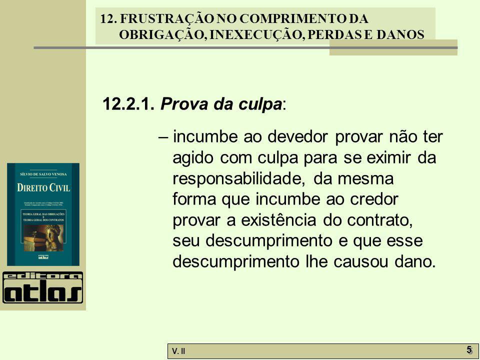 V.II 6 6 12. FRUSTRAÇÃO NO COMPRIMENTO DA OBRIGAÇÃO, INEXECUÇÃO, PERDAS E DANOS 12.3.