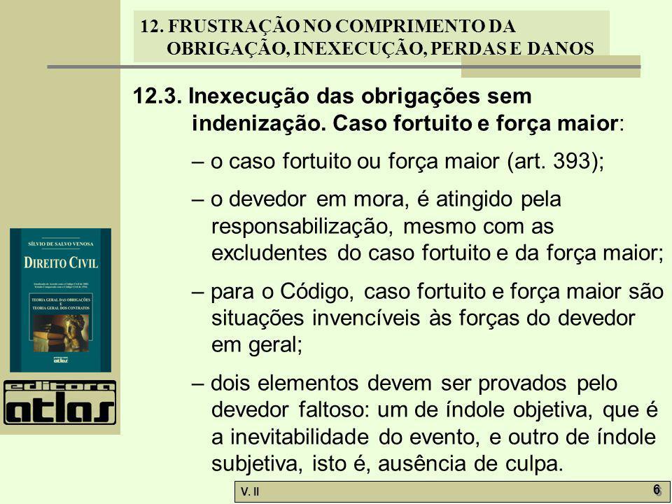V.II 7 7 12. FRUSTRAÇÃO NO COMPRIMENTO DA OBRIGAÇÃO, INEXECUÇÃO, PERDAS E DANOS 12.3.1.