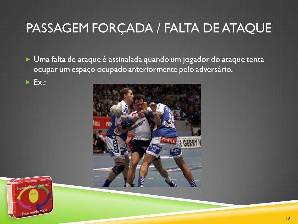 JOGO PASSIVO Não é permitido manter a bola em posse sem realizar nenhuma tentativa reconhecível de ataque ou arremesso à baliza.