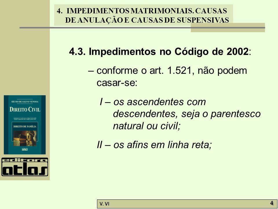 4. IMPEDIMENTOS MATRIMONIAIS. CAUSAS DE ANULAÇÃO E CAUSAS DE SUSPENSIVAS V. VI 4 4 4.3. Impedimentos no Código de 2002: – conforme o art. 1.521, não p