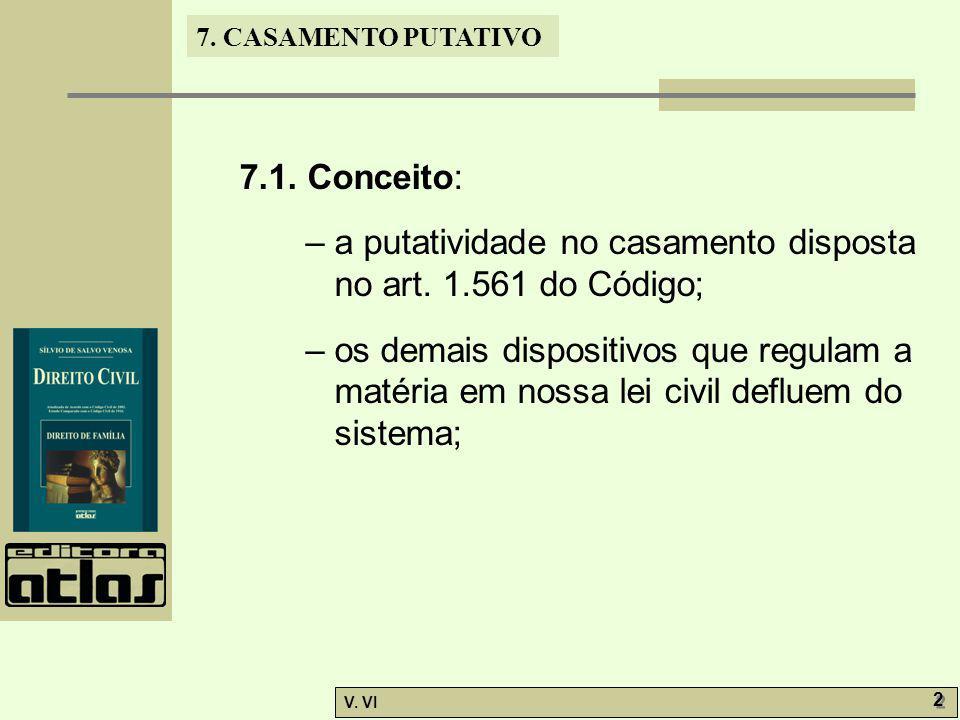 7.CASAMENTO PUTATIVO V. VI 2 2 7.1. Conceito: – a putatividade no casamento disposta no art.