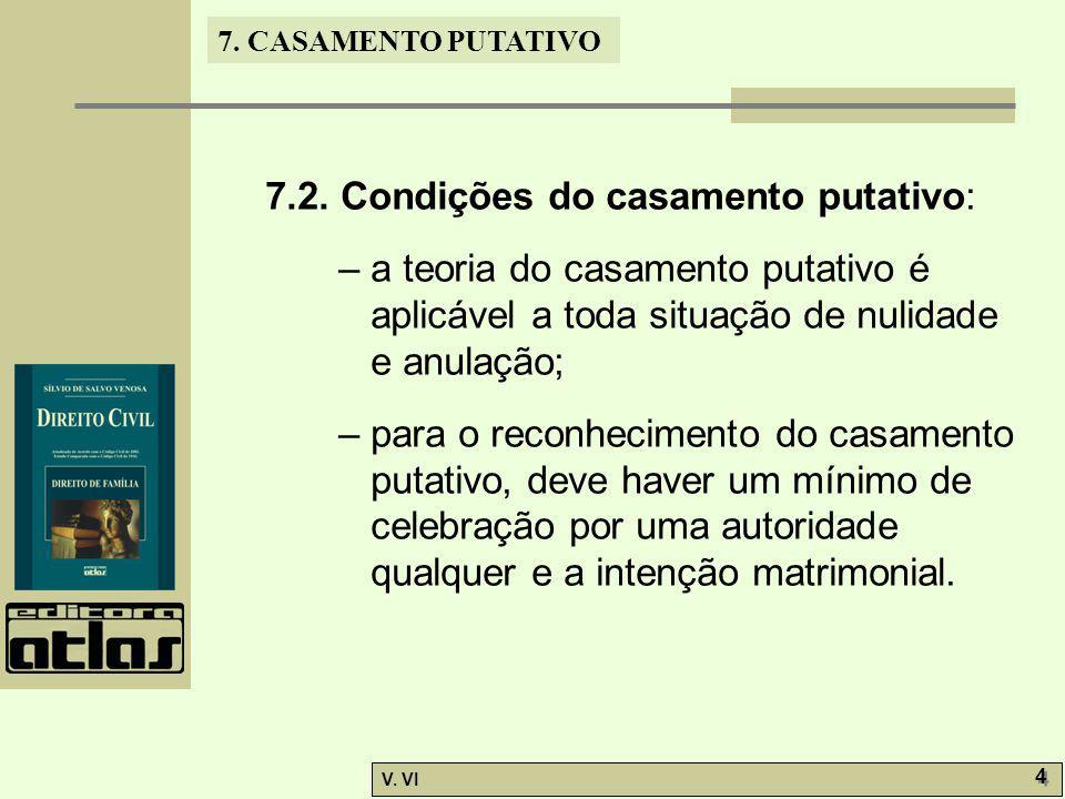 7. CASAMENTO PUTATIVO V. VI 4 4 7.2. Condições do casamento putativo: – a teoria do casamento putativo é aplicável a toda situação de nulidade e anula