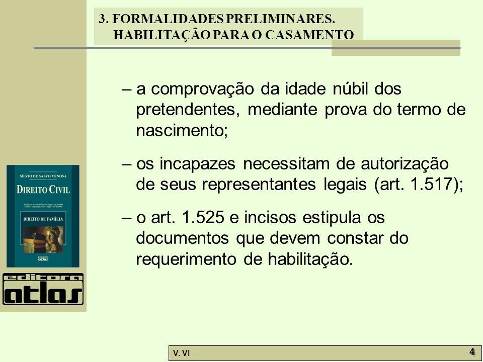 3. FORMALIDADES PRELIMINARES. HABILITAÇÃO PARA O CASAMENTO V. VI 4 4 – a comprovação da idade núbil dos pretendentes, mediante prova do termo de nasci