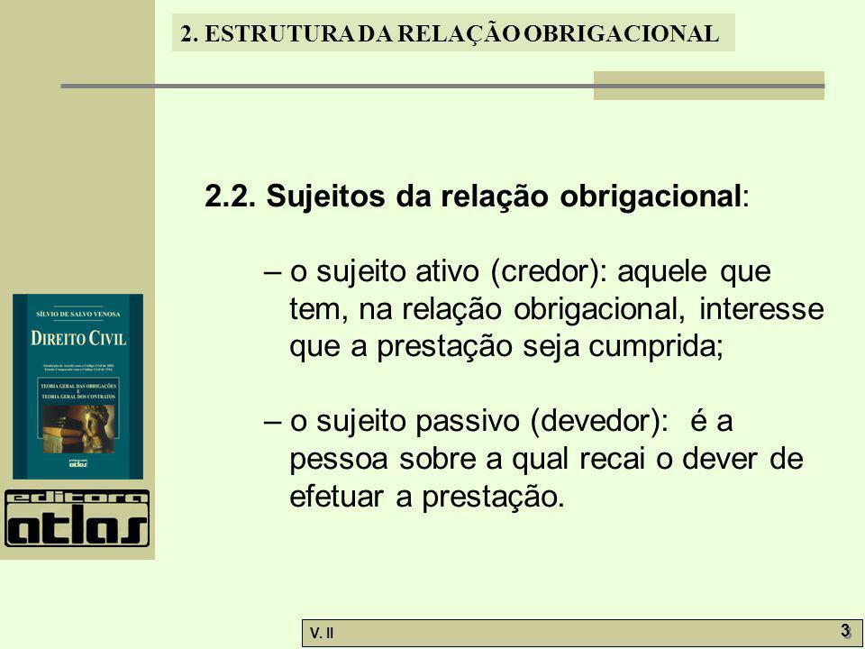 V.II 3 3 2. ESTRUTURA DA RELAÇÃO OBRIGACIONAL 2.2.
