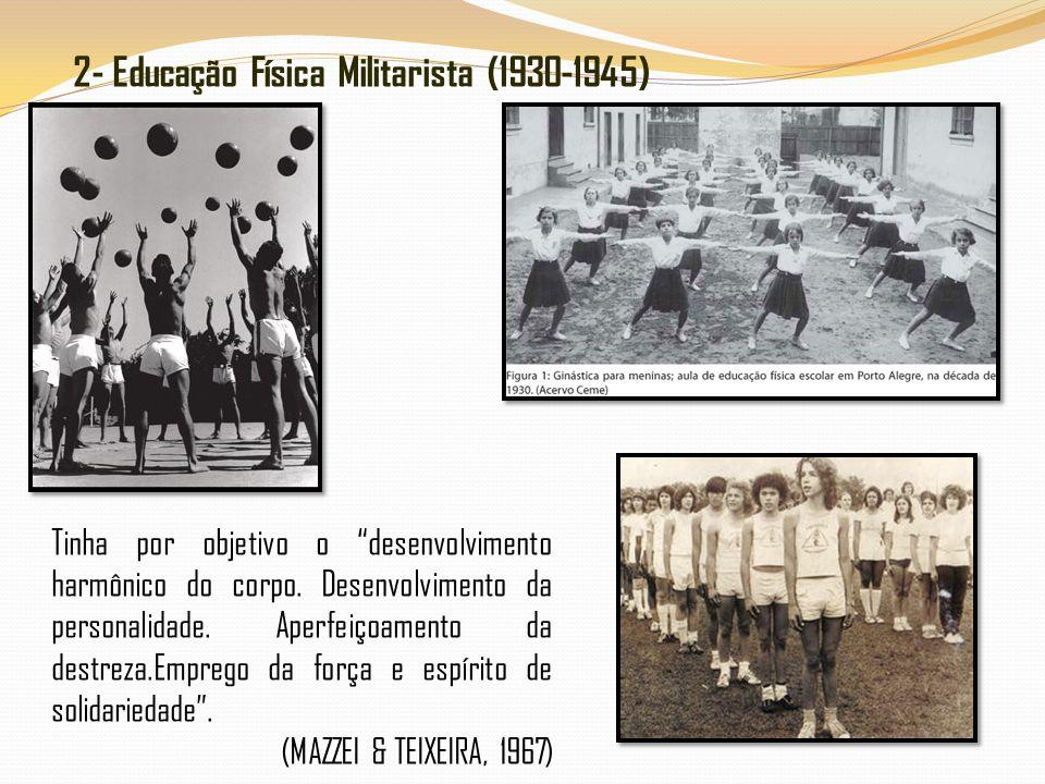 2- Educação Física Militarista (1930-1945) Tinha por objetivo o desenvolvimento harmônico do corpo. Desenvolvimento da personalidade. Aperfeiçoamento