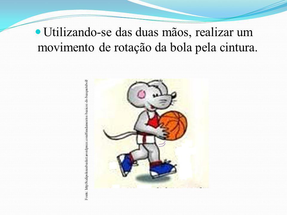 Utilizando-se das duas mãos, realizar um movimento de rotação da bola pela cintura. Fonte: http://calipolensebasket.wordpress.com/fundamentos-basicos-