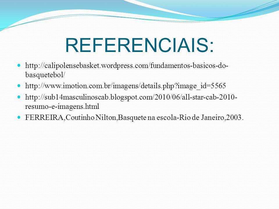 REFERENCIAIS: http://calipolensebasket.wordpress.com/fundamentos-basicos-do- basquetebol/ http://www.imotion.com.br/imagens/details.php?image_id=5565