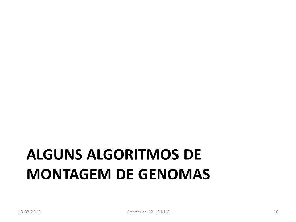 ALGUNS ALGORITMOS DE MONTAGEM DE GENOMAS 18-03-2013Genómica 12-13 MJC16