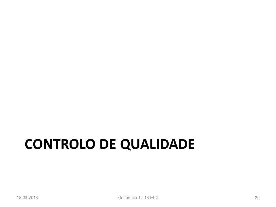 CONTROLO DE QUALIDADE 18-03-2013Genómica 12-13 MJC20