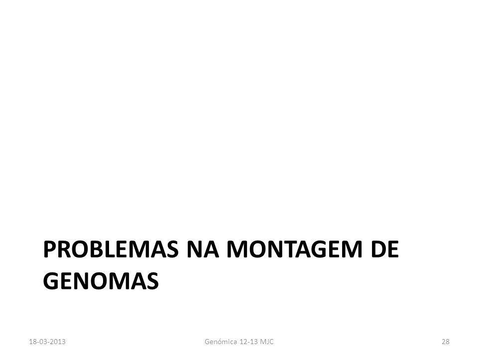 PROBLEMAS NA MONTAGEM DE GENOMAS 18-03-2013Genómica 12-13 MJC28