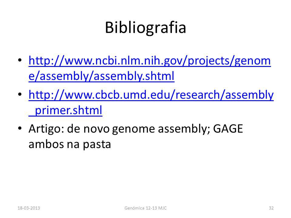 Bibliografia http://www.ncbi.nlm.nih.gov/projects/genom e/assembly/assembly.shtml http://www.ncbi.nlm.nih.gov/projects/genom e/assembly/assembly.shtml http://www.cbcb.umd.edu/research/assembly _primer.shtml http://www.cbcb.umd.edu/research/assembly _primer.shtml Artigo: de novo genome assembly; GAGE ambos na pasta 18-03-2013Genómica 12-13 MJC32
