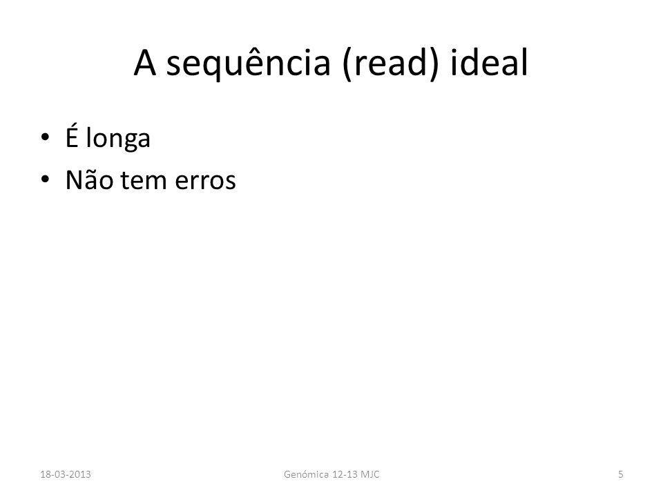 A sequência (read) ideal É longa Não tem erros 18-03-2013Genómica 12-13 MJC5
