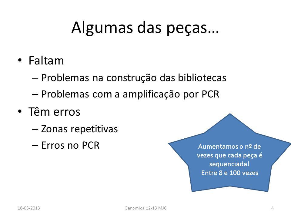 Algumas das peças… Faltam – Problemas na construção das bibliotecas – Problemas com a amplificação por PCR Têm erros – Zonas repetitivas – Erros no PC