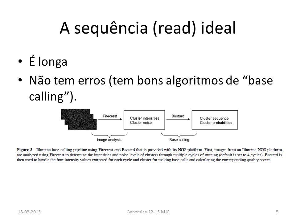 A sequência (read) ideal É longa Não tem erros (tem bons algoritmos de base calling). 18-03-2013Genómica 12-13 MJC5