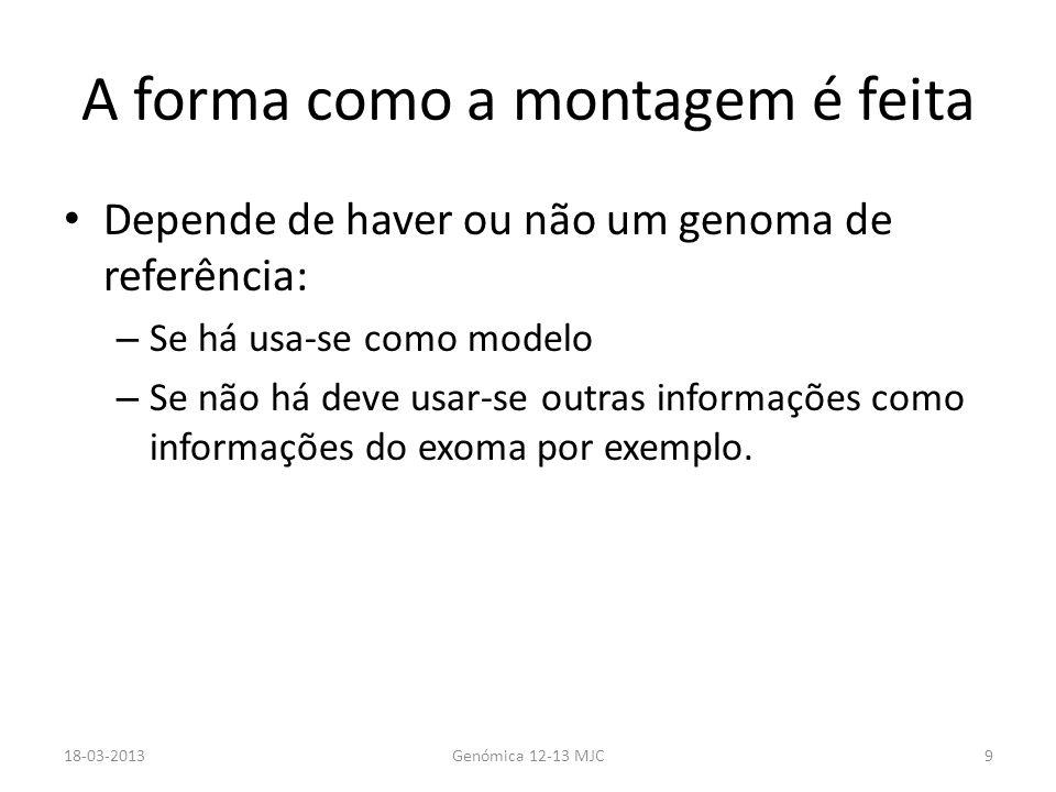 A forma como a montagem é feita Depende de haver ou não um genoma de referência: – Se há usa-se como modelo – Se não há deve usar-se outras informaçõe