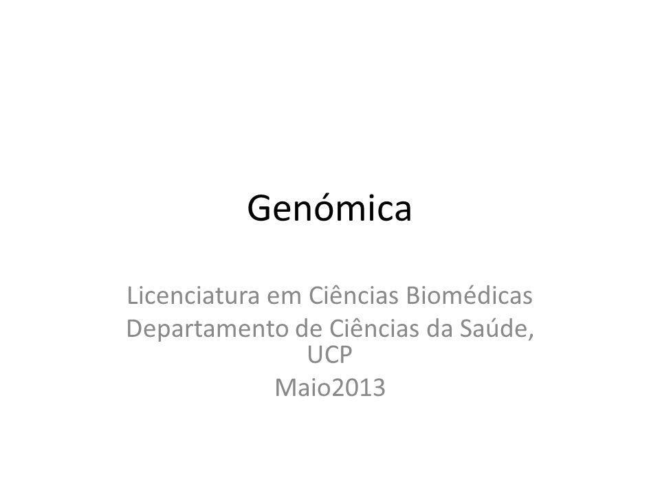 Genómica Licenciatura em Ciências Biomédicas Departamento de Ciências da Saúde, UCP Maio2013