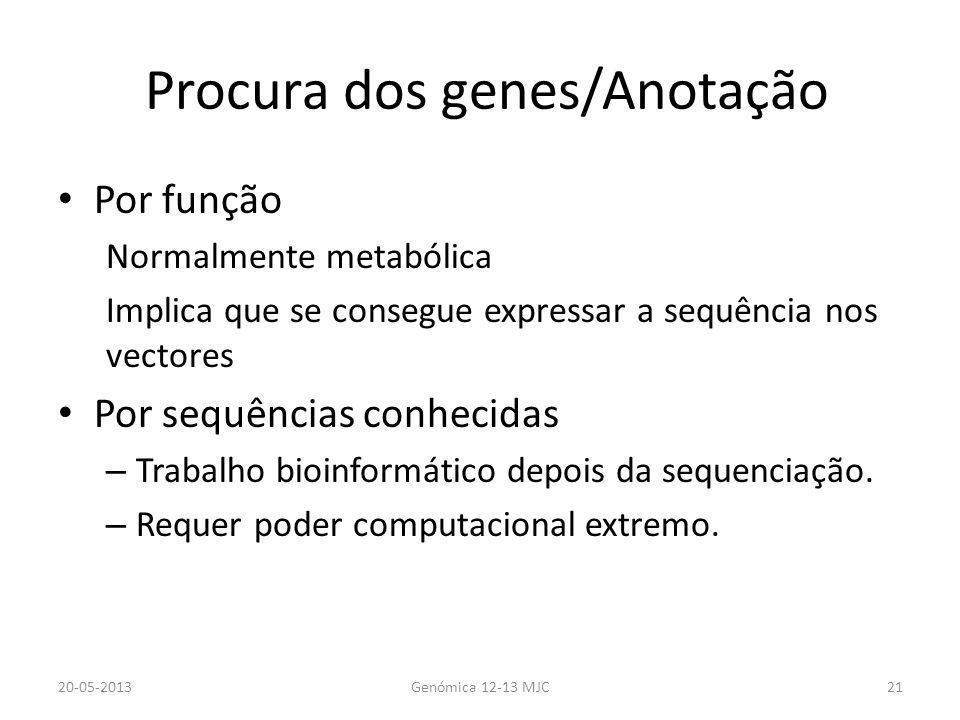 Procura dos genes/Anotação Por função Normalmente metabólica Implica que se consegue expressar a sequência nos vectores Por sequências conhecidas – Tr