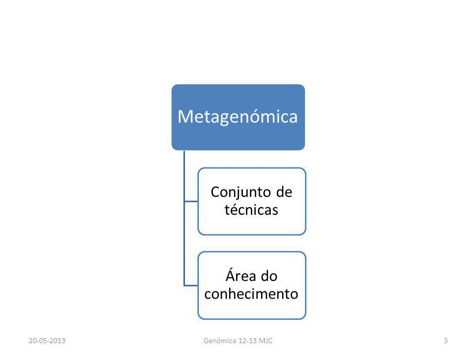 Metagenómica Conjunto de técnicas Área do conhecimento 20-05-2013Genómica 12-13 MJC3