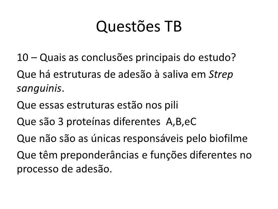 Questões TB 10 – Quais as conclusões principais do estudo.
