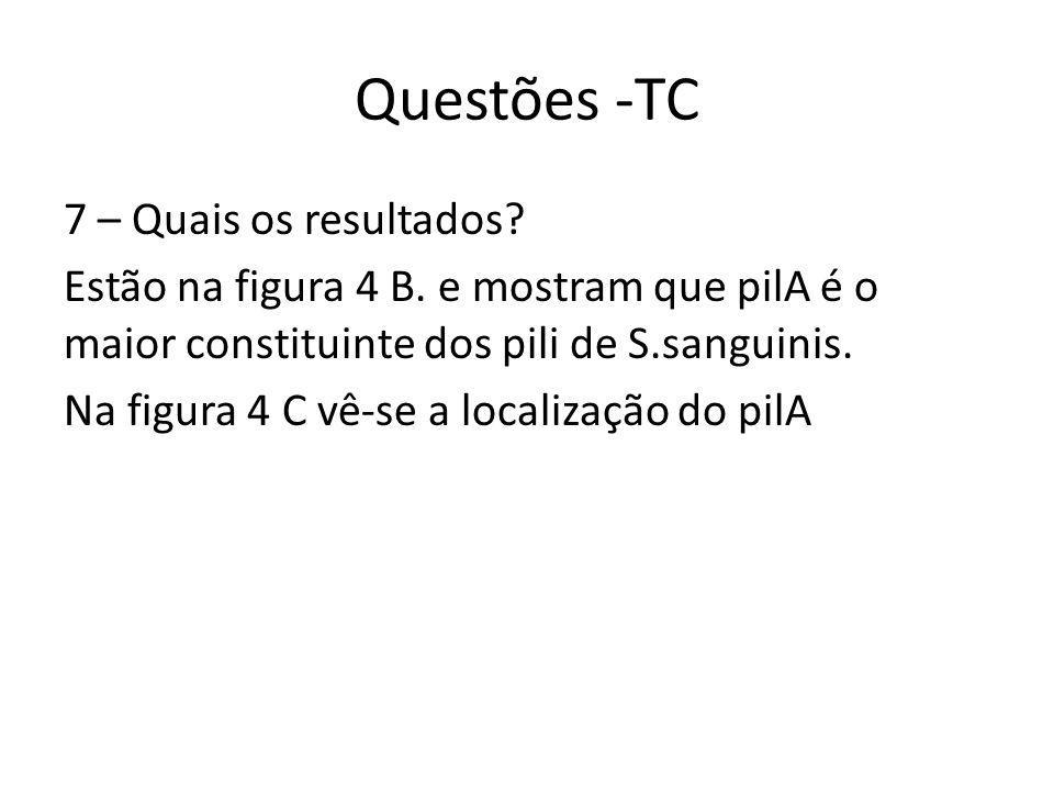 Questões -TC 7 – Quais os resultados. Estão na figura 4 B.