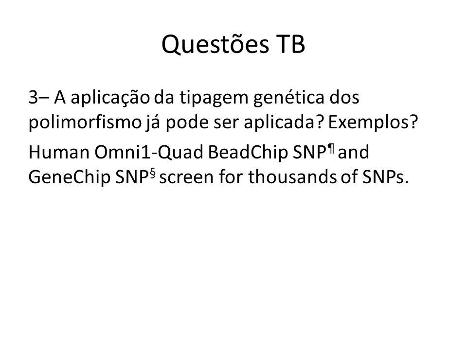 Questões TB 3– A aplicação da tipagem genética dos polimorfismo já pode ser aplicada.