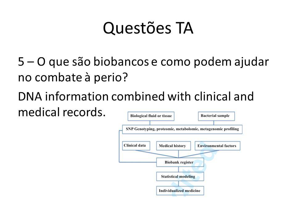 Questões TA 5 – O que são biobancos e como podem ajudar no combate à perio.