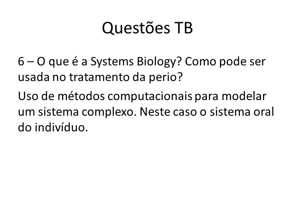 Questões TB 6 – O que é a Systems Biology. Como pode ser usada no tratamento da perio.
