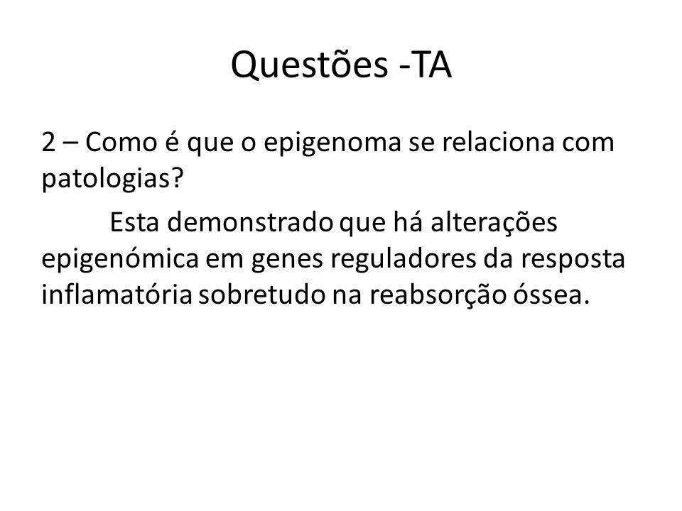 Questões -TA 2 – Como é que o epigenoma se relaciona com patologias.