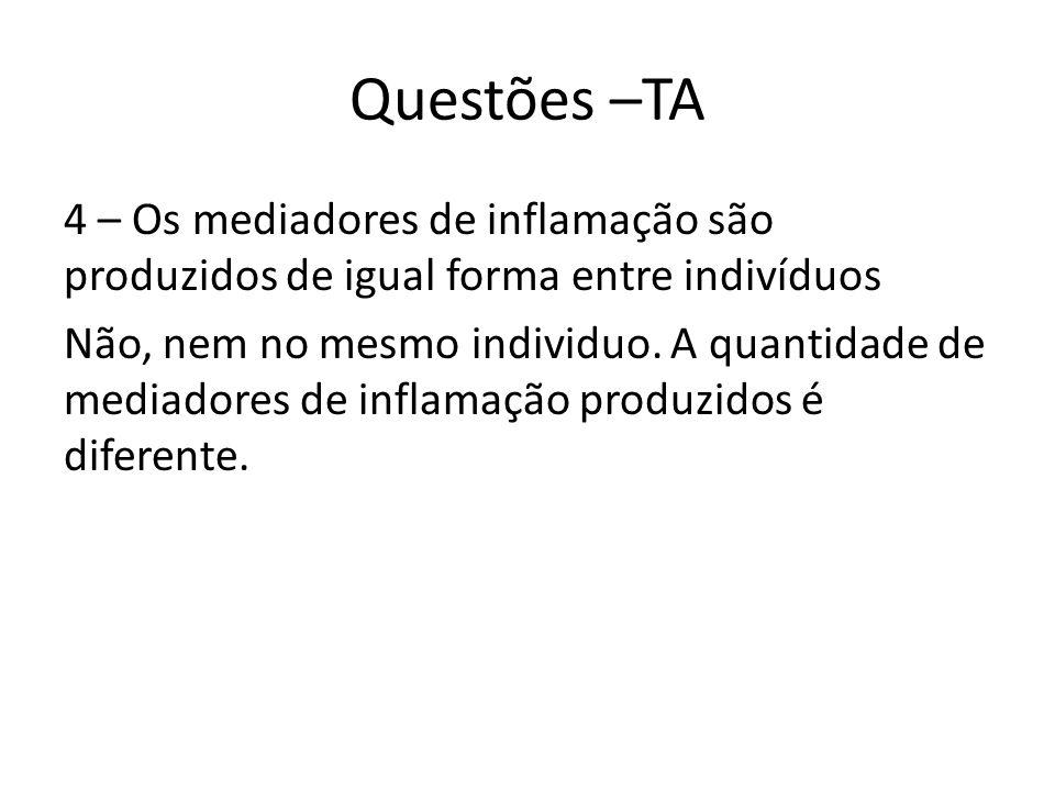 Questões –TA 4 – Os mediadores de inflamação são produzidos de igual forma entre indivíduos Não, nem no mesmo individuo.