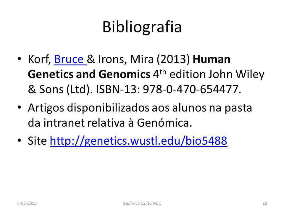 Bibliografia Korf, Bruce & Irons, Mira (2013) Human Genetics and Genomics 4 th edition John Wiley & Sons (Ltd).