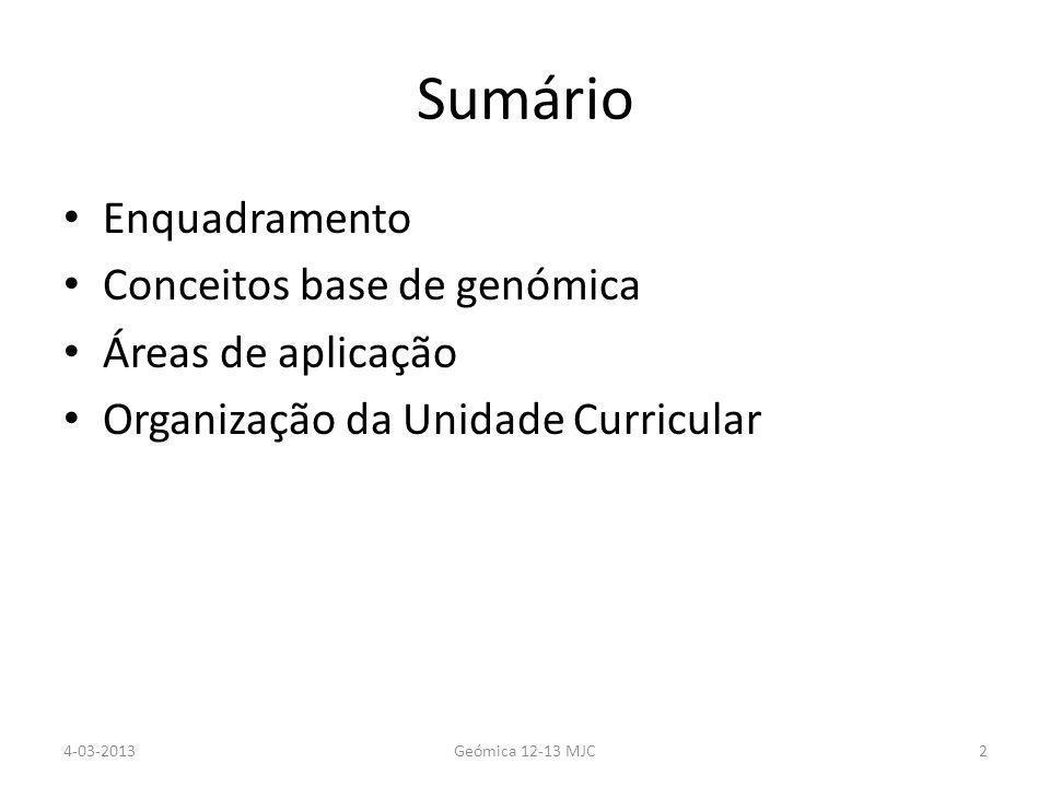 Sumário Enquadramento Conceitos base de genómica Áreas de aplicação Organização da Unidade Curricular 4-03-2013Geómica 12-13 MJC2