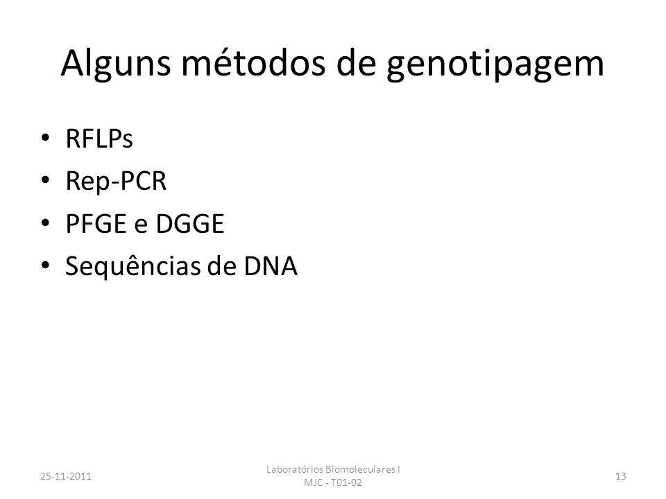 Alguns métodos de genotipagem RFLPs Rep-PCR PFGE e DGGE Sequências de DNA 25-11-2011 Laboratórios Biomoleculares I MJC - T01-02 13