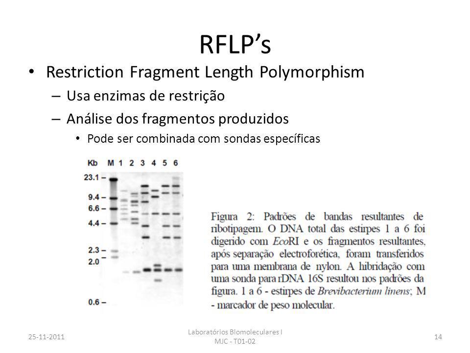 RFLPs Restriction Fragment Length Polymorphism – Usa enzimas de restrição – Análise dos fragmentos produzidos Pode ser combinada com sondas específicas 25-11-2011 Laboratórios Biomoleculares I MJC - T01-02 14