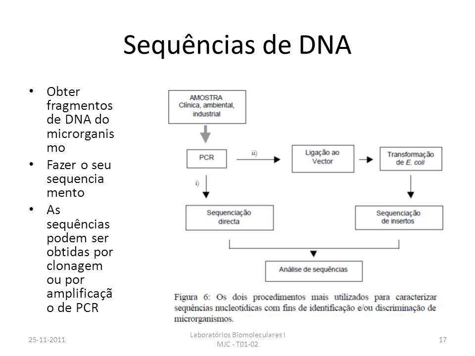 Sequências de DNA Obter fragmentos de DNA do microrganis mo Fazer o seu sequencia mento As sequências podem ser obtidas por clonagem ou por amplificaçã o de PCR 25-11-2011 Laboratórios Biomoleculares I MJC - T01-02 17