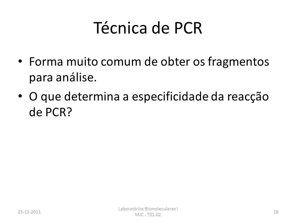 Técnica de PCR Forma muito comum de obter os fragmentos para análise. O que determina a especificidade da reacção de PCR? 25-11-2011 Laboratórios Biom