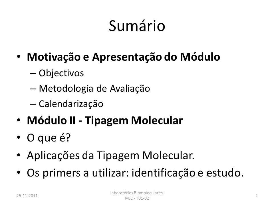 Sumário Motivação e Apresentação do Módulo – Objectivos – Metodologia de Avaliação – Calendarização Módulo II - Tipagem Molecular O que é? Aplicações