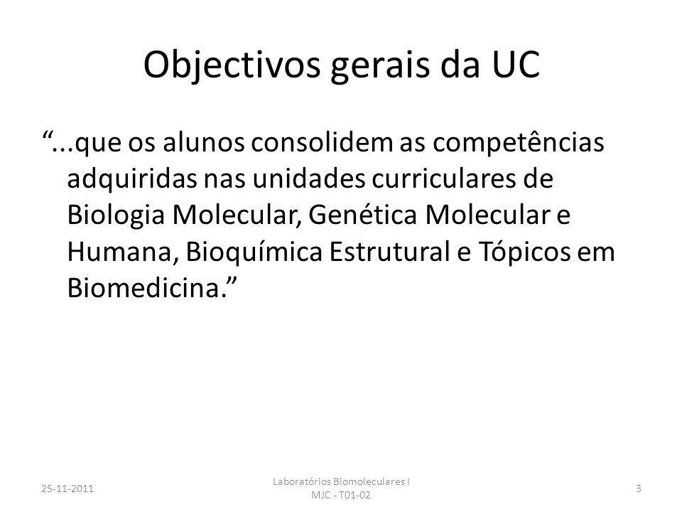 Objectivos gerais da UC...que os alunos consolidem as competências adquiridas nas unidades curriculares de Biologia Molecular, Genética Molecular e Humana, Bioquímica Estrutural e Tópicos em Biomedicina.