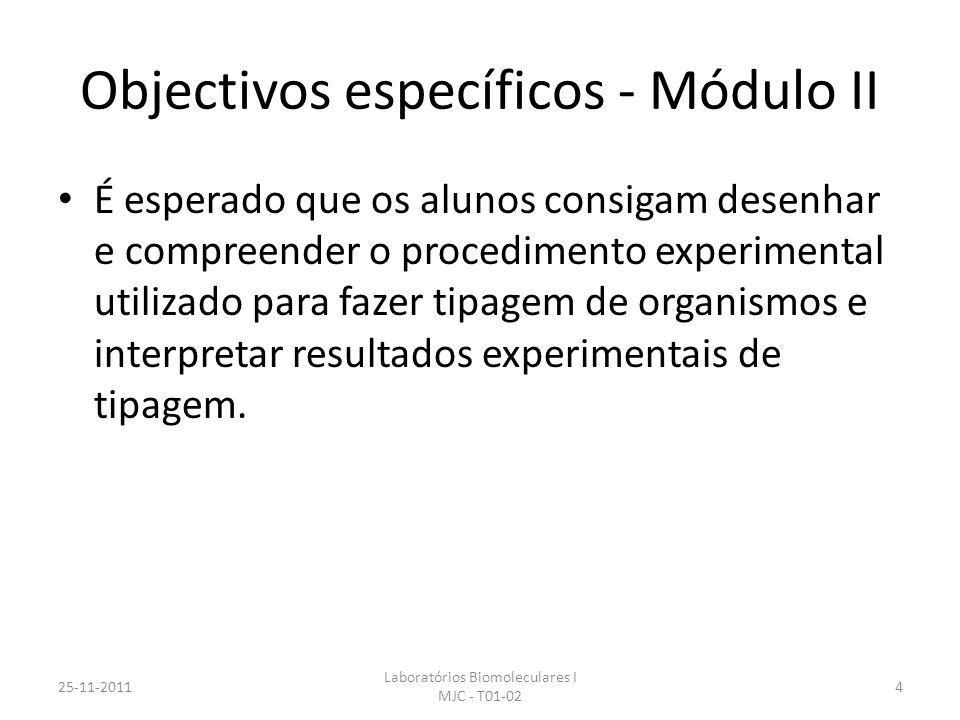 Objectivos específicos - Módulo II É esperado que os alunos consigam desenhar e compreender o procedimento experimental utilizado para fazer tipagem d