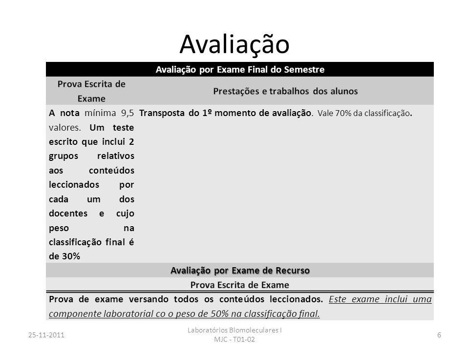 Avaliação 25-11-2011 Laboratórios Biomoleculares I MJC - T01-02 6 Avaliação por Exame Final do Semestre A nota mínima 9,5 valores. Um teste escrito qu