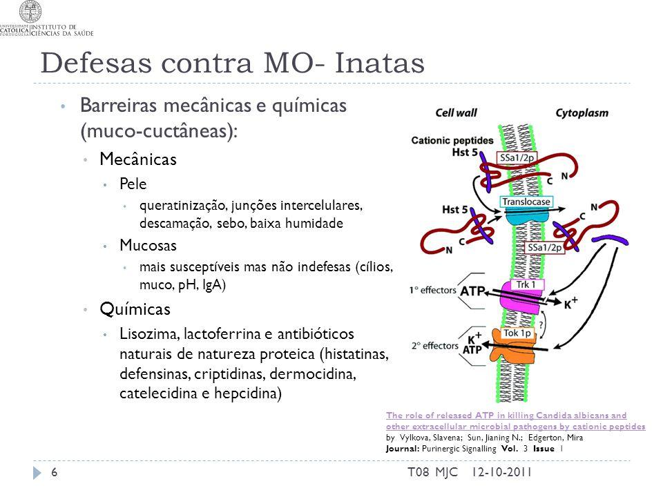 Defesas contra MO- Inatas 12-10-2011T08 MJC6 Barreiras mecânicas e químicas (muco-cuctâneas): Mecânicas Pele queratinização, junções intercelulares, descamação, sebo, baixa humidade Mucosas mais susceptíveis mas não indefesas (cílios, muco, pH, IgA) Químicas Lisozima, lactoferrina e antibióticos naturais de natureza proteica (histatinas, defensinas, criptidinas, dermocidina, catelecidina e hepcidina) The role of released ATP in killing Candida albicans and other extracellular microbial pathogens by cationic peptides by Vylkova, Slavena; Sun, Jianing N.; Edgerton, Mira Journal: Purinergic Signalling Vol.
