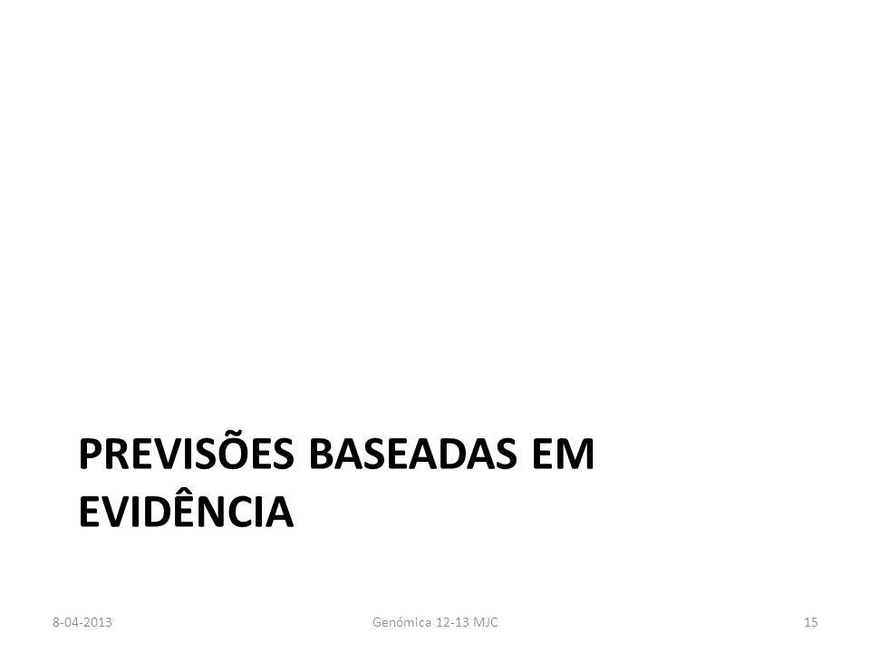PREVISÕES BASEADAS EM EVIDÊNCIA 8-04-2013Genómica 12-13 MJC15