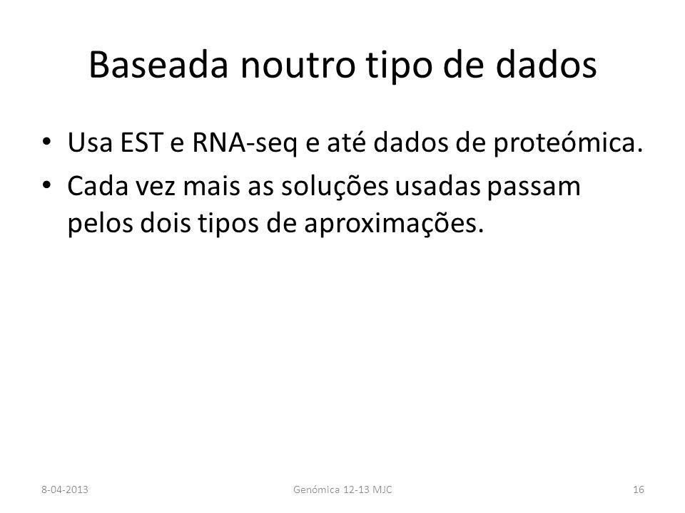 Baseada noutro tipo de dados Usa EST e RNA-seq e até dados de proteómica.